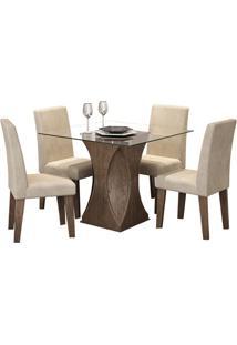 Sala De Jantar Andréia 100Cm Com 4 Cadeiras Marrocos Sued Bege