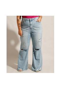 Calça Plus Size Wide Jeans Destroyed Cintura Super Alta Azul Claro