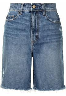 Nobody Denim Short Jeans Tyler Com Acabamento Desfiado - Azul