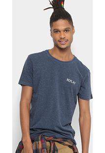 Camiseta Replay Botonê Masculina - Masculino-Azul
