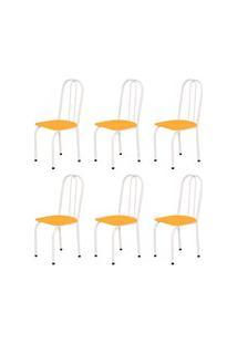 Kit 6 Cadeiras Baixas 0.101 Assento Reto Branco/Laranja - Marcheli