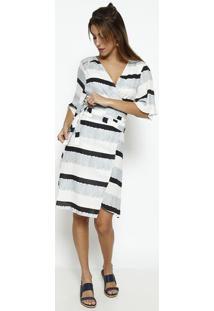 Vestido Listrado Em Linho- Off White & Preto- Vixvix
