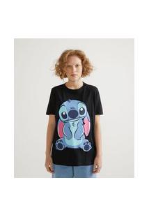 Blusa Alongada Em Algodão Com Estampa Stitch