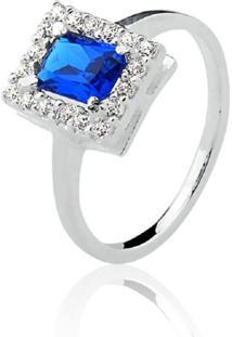 Anel Prata Rara Princesa Retangular Azul Safira