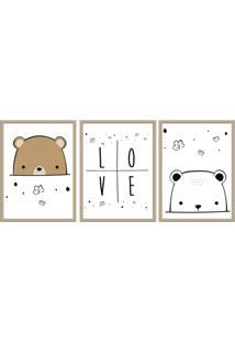Quadro 60X120Cm Infantil Amor De Urso Moldura Natural Sem Vidro Decorativo - Multicolorido - Dafiti