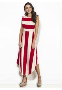 Vestido Midi Linho Listrado Vermelho
