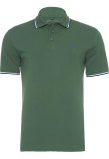 Polo Masculina 2 Lines Army Green Blue - Verde