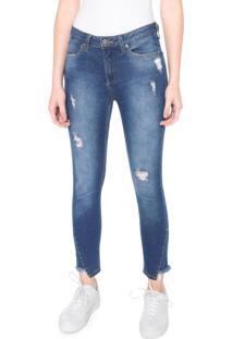 Calça Calvin Klein Jeans Skinny Cropped Azul
