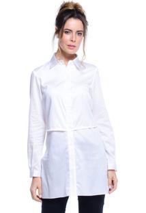 Camisa Cléo Aidar Pala Sobreposta Branca