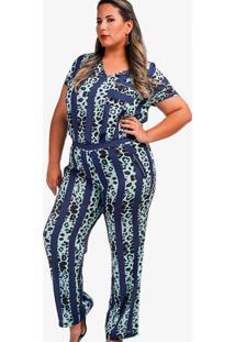 Conjunto Blusa E Calça Com Bolso Zíper Plus Size Azul Alfazema