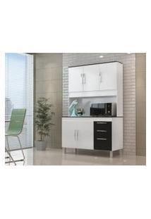 Cozinha Compacta Gemeos 1,14M 5 Portas 3 Gav. Branco Preto