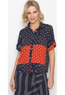 Camisa Folhagens Com Botãµes- Azul Marinho & Vermelhaintens
