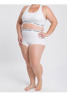 Calcinha Plus Size Boyshort Básica Ck One Branca Underwear Calvin Klein - 4Xl