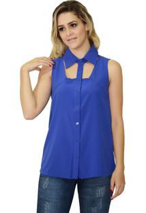 Camisa Energia Fashion Sem Manga Azul