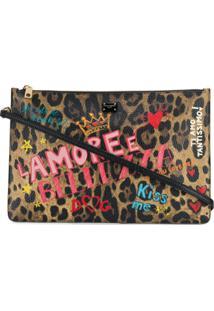 Dolce & Gabbana Clutch Com Animal Print - Marrom