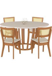 Conjunto Mesa Mona Redonda 150Cm Com 4 Cadeiras Jade Champagne/Off White Linho Bege - Gran Belo - Tricae