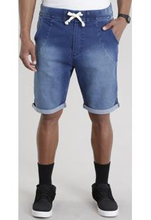 Bermuda Jeans Relaxed Azul Escuro