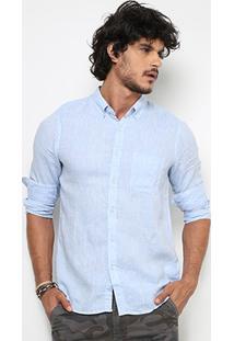 Camisa Pacific Blue Ml Linho Liso Masculina - Masculino