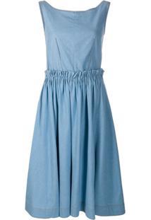 Marni Vestido Evasê Com Pregas - Azul