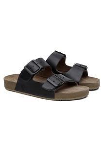 Sandália Couro Duas Tiras Black Boots Fivela Dia A Dia Preto