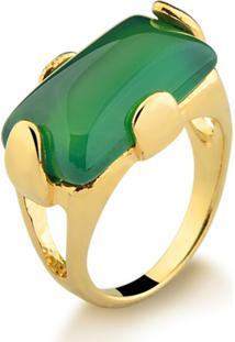 Anel Possebon Dourado Com Pedra Natural Ágata Verde