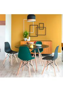 Conjunto De Mesa De Jantar Com 4 Cadeiras Eames Eiffel Preto E Verde