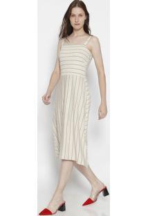 Vestido MãDi Listrado Com Linho - Nude & Pretoosklen
