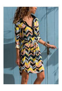 Vestido Camisão Paris Feminino - Rosa, Amarelo E Azul Com Ondas