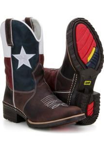 Bota Texana Country Capelli Boots Em Couro Bandeira Texas Bico Redondo Masculina - Masculino