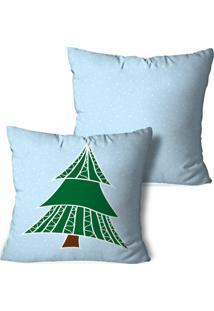 Kit 2 Capas Para Almofadas De Natal ÁRvore Geomã©Trica 35X35Cm - Multicolorido - Dafiti