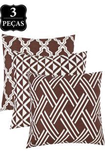 Kit Capa Para Almofada Decortextil 3 Peças Marrom