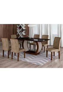 Conjunto De Mesa De Jantar Com Vidro E 6 Cadeiras Maia Ii Suede Animalle Castor E Chocolate