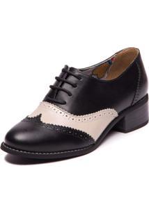 Sapato Feminino Social Oxford - Preto / Araca 3015