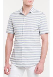 Camisa Mg Curta Reg Sustainable Listrada - Azul Claro - 1
