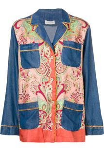Etro Paisley Denim Panelled Blazer - Azul