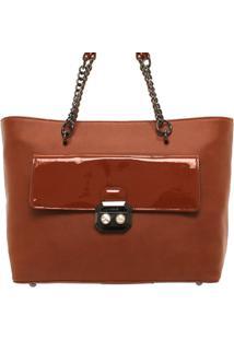 Bolsa Shop Bag Com Alça De Corrente Vogue - Feminino-Caramelo