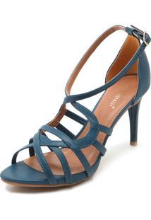 Sandália Di Cristalli Tiras Azul