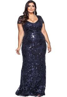 Vestido Almaria Plus Size Pianeta Tule Azul