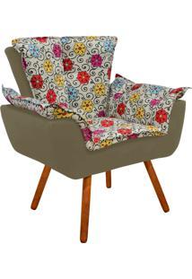 Poltrona Decorativa Opala Suede Composê Estampado Floral Color D17 E Suede Marrom Rato - D'Rossi