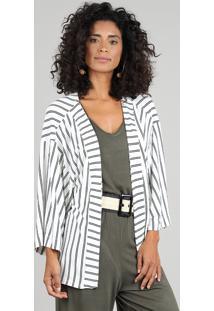 Kimono Feminino Listrado Off White
