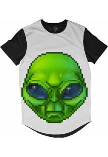 Camiseta Insane 10 Longline Alien Pixelado Sublimada Preta Branca