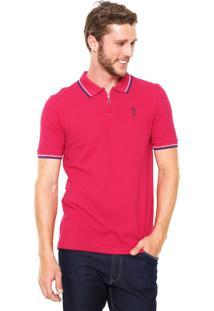 Camisa Polo Aleatory Zíper Rosa