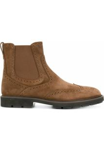 Tod'S Ankle Boot De Couro E Camurça - Marrom