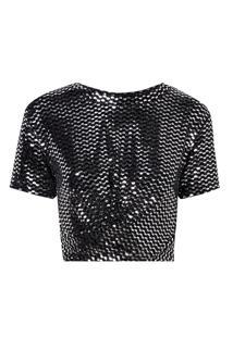 Camiseta Rosa Chá Debora Malha Preto Feminina (Preto E Prata, P)