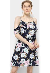 Vestido Pérola Curto Open Shoulder Babado Floral - Feminino-Marinho