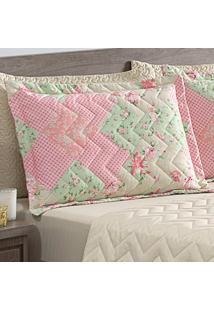 Porta Travesseiro Matelasse 260 Fios Zig Zag Floral Patch