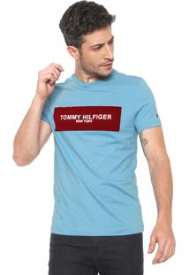 Camiseta Tommy Hilfiger Box Logo Azul