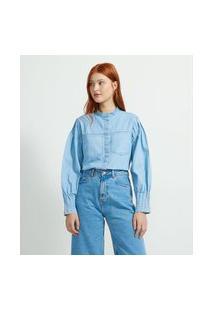 Camisa Manga Bufante Em Jeans Com Bolsos Frontais   Blue Steel   Azul   P