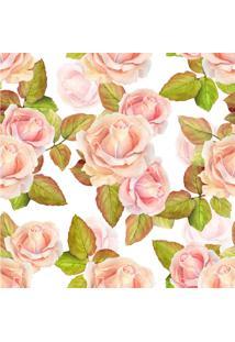 Papel De Parede Adesivo Rosas Fundo Branco (0,58M X 2,50M)