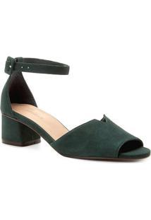 Sandália Couro Shoestock Salto Bloco Nobuck Feminina - Feminino-Verde